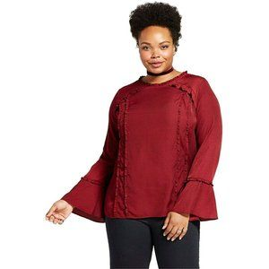 AVA & VIV Maroon Red Ruffle Top with Bell Sleeves